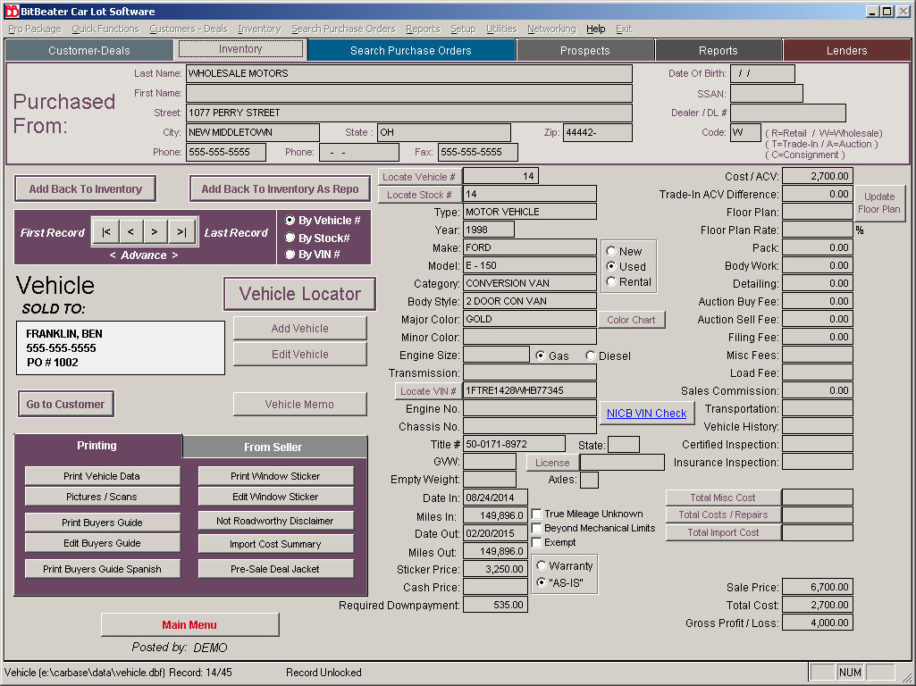 used car lot software for used auto dealers with inventory buy buy here pay here loans